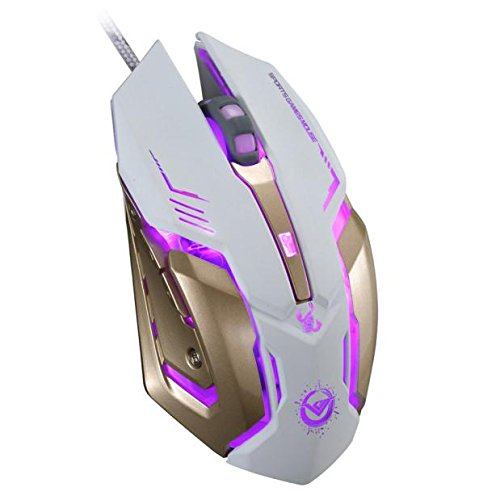 Gbell RGB Spectrum Backlit Ergonomic Mouse Griffin Programmable with 6 Buttonto 3500 DPI Optical Mice for Windows PC Gamers USB Wired Gaming Steel Mice (White/Ship from US)
