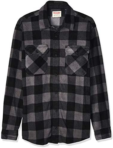 Wrangler Authentics Mens Long Sleeve Heavy Weight Fleece Shirt