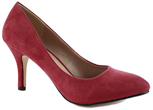 NEW WOMENS LADIES WEDDING BRIDAL BRIDESMAID MID PARTY PROM LOW MID HIGH KITTEN HEELS ANKLE STRAP STILETTO COURT SHOES PUMPS SIZE 3-8 Red Suede Ue0CKK0z