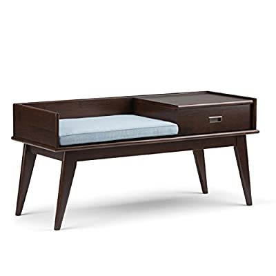 Simpli Home Draper SOLID WOOD 48 inch Wide Entryway Storage Bench with Comfortable Cushion and Drawer, Multifunctional, Mid Century Modern, in Medium Auburn Brown - Handcrafted using the finest quality solid rubberwood hardwood Hand-finished with a Medium Auburn Brown stained and glazed finish with a protective NC lacquer to accentuate and highlight the grain and the uniqueness of each piece of furniture Bench includes comfortable cushion with durable Cool Grey and White striped polyester fabric - entryway-furniture-decor, entryway-laundry-room, benches - 41wbo7a7vsL. SS400  -