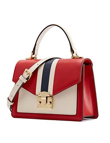 - LA'FESTIN Women's Cross Body Handbags Fashion Stripes Retro Leather Shoulder Bag Red