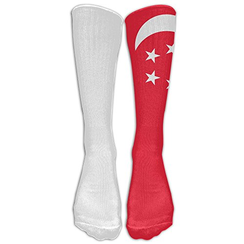 PIOL Singapore Flag Printed Crew Socks Warm Stocking Trendy Long Socks (Barn Singapore Pottery)