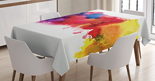 Ambesonne Abstract Tablecloth, Vibrant Stains of Watercolor Paint Splatters Brushstrokes Dripping Liquid Art, Dining Room Kitchen Rectangular Table Cover, 60 W X 84 L inches, Red Yellow Blue