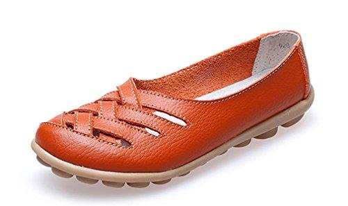 KEESKY Damen Leder Casual Ausgeschnitten Loafers Flache Slip-On Schuhe Orange