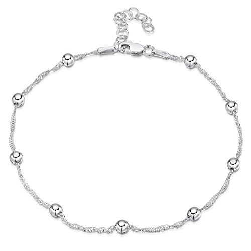 925 Fine Sterling Silver 1.4 mm Adjustable Anklet - Singapore Chain with 4 mm Ball Beads Ankle Bracelet - 9'' to 10'' inch - Flexible Fit by Amberta