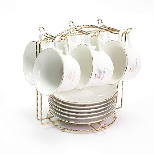 ufengke 5oz Swan Coffee Cup Set with Gloden Side, Porcelain Coffee Tea Sets with Metal Shelf,Set of 6 Ceramic Tea Cup and Saucer -