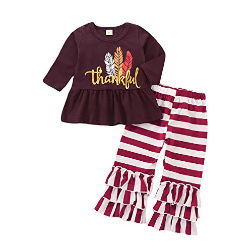 Baby Kids Girls Letter Thanksgiving Day Leaf Print Top Dress Stripe Ruched Ruffle Pant Outfit Set (Coffee, 12-18M) ()
