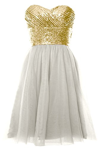 Dress Short Women Gold Wedding Party Formal Ivory Light Gown MACloth Cocktail Sequin Strapless xOawRnRX