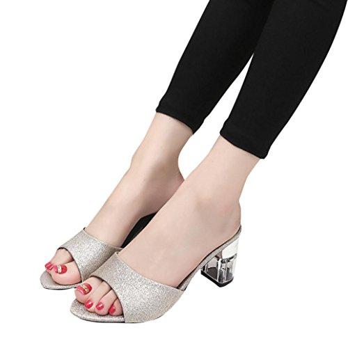 Rawdah Moda Mujer Verano sandalias flip flop mocasines de tacon zapatos de Bohemia Oro