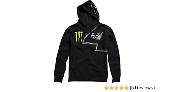 Amazon.com: Monster Energy Drink Officially Licensed Fox Ricky Carmichael Replica RC4 Front Fleece Mens Hoody Zip Racewear Sweatshirt - Black / Medium: ...
