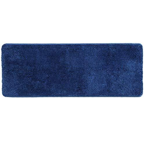 HAOCOO Shaggy Bathroom Rugs Runner, Luxury Bath Shower Mat Non-Slip Water Absorbent Machine-Washable Carpet Soft Microfiber Bath Floor Rug for Doormats Tub (18x47 inch, Navy Blue)