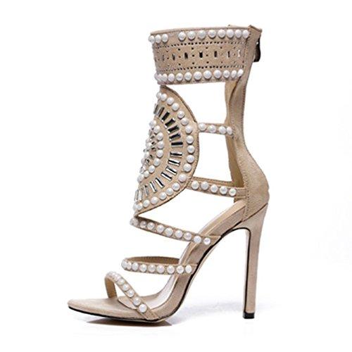 Albaricoque Mujeres tacón de pie del del Cristal de de Abierto Sandalias de Dedo Las Sandalias Alto Tobillo S1EwaqgS
