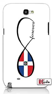 Infinity Forever Dominican Republic National Flag Unique Quality Hard Snap On Case for Samsung Galaxy Note 2 Note II N7100 (WHITE)