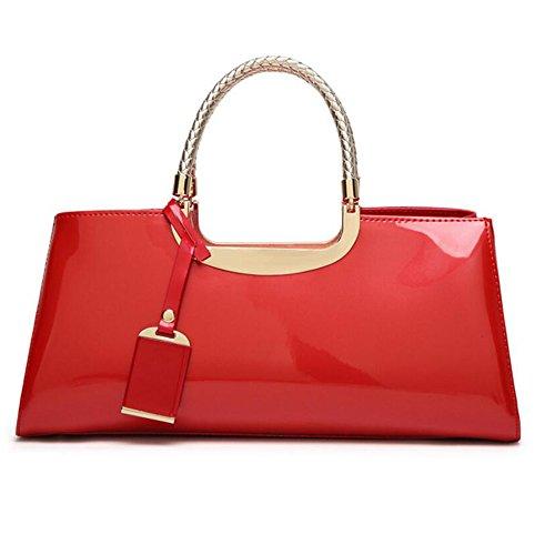 diagonale fermeture dames gamme verni Femmes le éclair Boston mariage couleurs nuptiale de dîner en sacs lumineux plastique tout Rouge fourre JUNBOSI en haut sac 7 à épaule pour cuir B4n88g