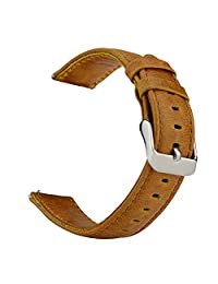 Gear S3 Watch Band, SSBRIGHT Gear S3 Frontier / Classic Leather Strap Replacement Smart Watch Band For Samsung Gear S3 Frontier / Classic / Moto 360 2nd Gen 46mm Smart Watch (NOT FIT S2 & S2 classic) (Brown)