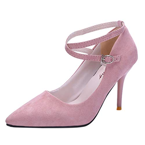 Sunhusing Elite Lady Sexy Pointed Shallow Mouth Cross Strap Buckle Buckle Buckle Stiletto Heel Ankle Shoes Pink