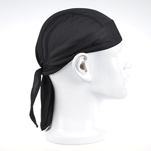 Cosmos High-Performance Mesh Dew Rag Cooling Skull Cap for Riding / Skiing / Motorcycling / Trekking / Mountain climbing or Other Sport Activities (Black)