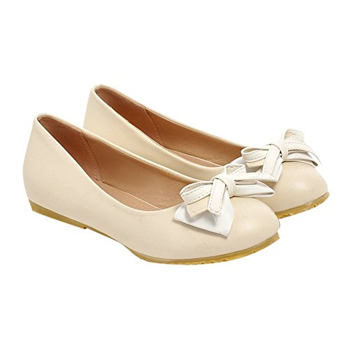 Mee Shoes Womens Charm Bows Upper Flats Shoes Off-White
