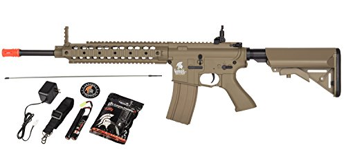 Lancer Tactical AEG SR-16 Electric Auto Airsoft Rifle Gun w/ Battery + Charger (Tan) Airsoft Full Auto