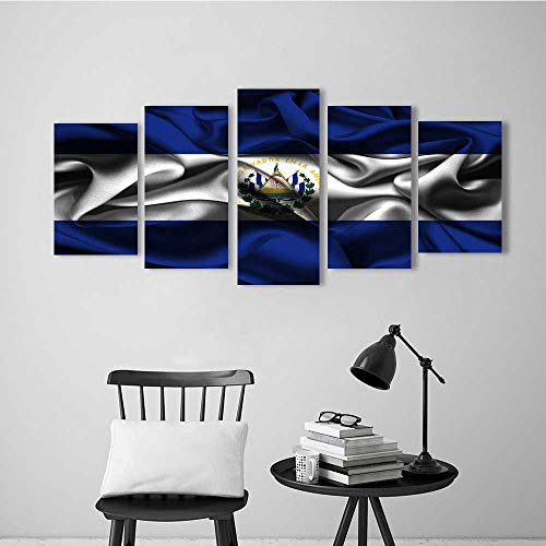 5 Piece Wall Art Painting Frameless Flag of EL Salvador Posters Wall Decor Gift
