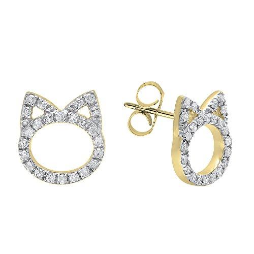 Earrings 18ky Gold (0.25 Carat (ctw) 18K Yellow Gold Round White Diamond Ladies Cat Stud Earrings 1/4 CT)
