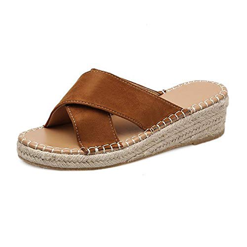 Espadrilles Slippers for Women,SMALLE◕‿◕ Women Cross Strappy Sandals Espadrille Wedge Slippers Low Heels Comfy Shoes Brown