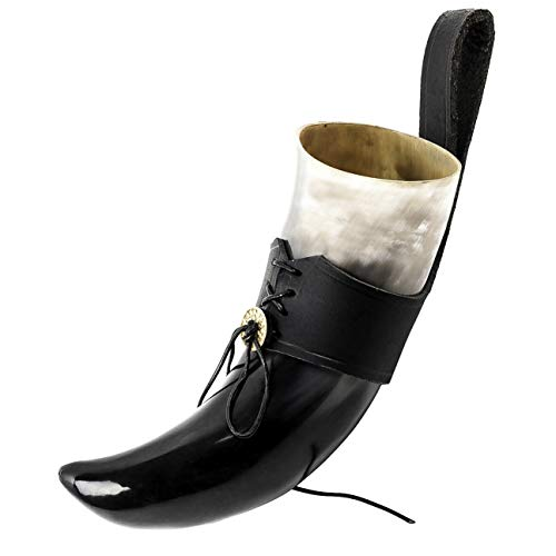 Mythrojan Drinking Horn with Leather Holder Authentic Medieval Inspired Viking Wine/Mead Mug (Black, 250 ML)