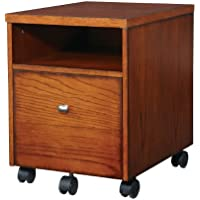 Office Star Aurora Mobile File Cabinet in Medium Oak Finish and Black Accents