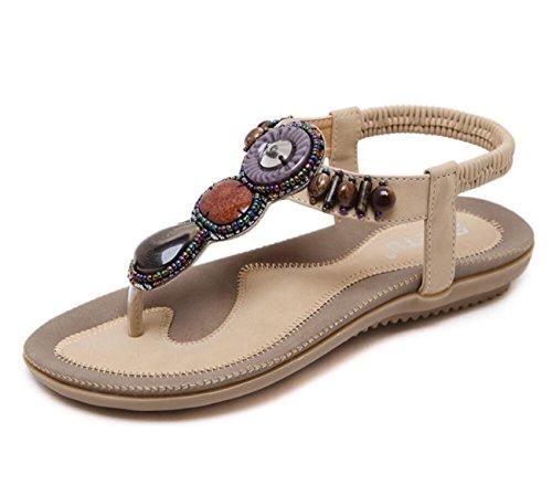 DANDANJIE Sandalias de Mujer Zapatos de Playa de Verano Sandalias Antideslizantes Zapatillas de Moda Bohemia de Compras Cómodas (Beige Negro Rosa Rojo) Zapatos caseros Beige