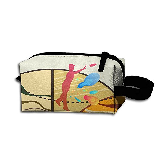 Frisbee Player Zipper Case Cosmetic Makeup Bag Portable Toiletry Bag (Frisbee Player)