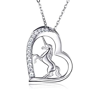 Collier pendentif licorne en argent sterling 925 pour femmes – Van Chloe CZ diamant plaqué or blanc collier bijoux…