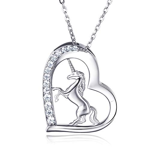 Van Chloe Women 925 Sterling Silver Love Heart Unicorn Pendant Necklace CZ Diamond White Gold Plated Necklace Jewelry Gift for Women Girls 17.7''+1.77''