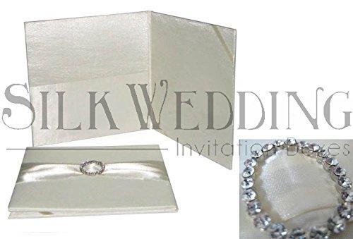 Subtly Elegant Handmade Ivory Silk Folio With Classic Crystal Buckle - Buckle Silk