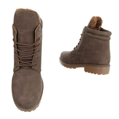 Ital-Design Women's Combat Boots Light Brown 4Hn72