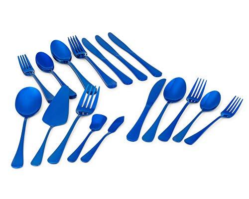 Coollery Silverware set, Mirror Finish 25-piece 18/0 Rust Resistant Stainless Steel, Serving Set, Flatware Cutlery set…