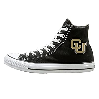 Candyy University Of Colorado Boulder Not Lace-up Unisex Flat Canvas High Top Sneaker Black