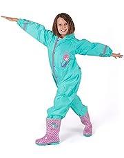 Regenpak Kinderen Waterdicht met Reflecterende Details - Regenjas Jumpsuit Kleine Meisjes 3 4 5 6 7 8 Jaar - Waterbestendige Overall met Capuchon voor Regen Modder Sneeuw