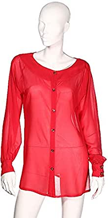Sana'A Kayum Women`S Solid Georgette Shirt Red