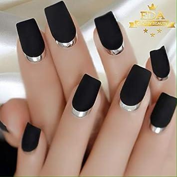 Eda Luxury Beauty Juego De Uñas Acrílicas Diseño De Lujo Color Negro Mate Color Plateado Y Plateado Beauty
