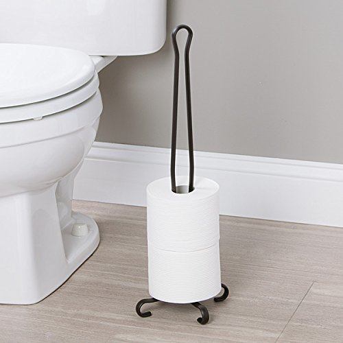 mDesign Free-Standing Toilet Paper Holder Stand with Storage for 3 Rolls of Reserve Toilet Tissue - for Bathroom, Powder Room Organization - Holds Mega Rolls - Durable Wire with a Bronze Finish