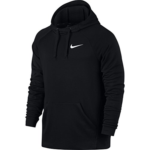 NIKE Mens Dry Fleece Pull Over Hoodie Black/White 860469-010 Size Large