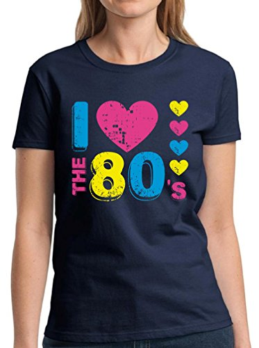 Vizor Women's I Love The 80's T shirts Shirts Tops 80s Party 80s Costume 80s Disco Navy XL
