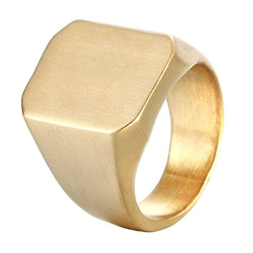 KnSam Men Ring Band Stainless Steel Geometrical Engagement Rings Male Gold Ring 8