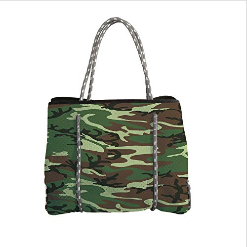 iPrint Neoprene Multipurpose Beach Bag Tote Bags,Camo,Classical American Commando Uniform Inspired Pattern Forest Tile,Forest Green Light Green Brown,Women Casual Handbag Tote Bags