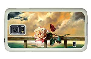 Hipster retro Samsung Galaxy S5 Case rose on fence paint PC White for Samsung S5