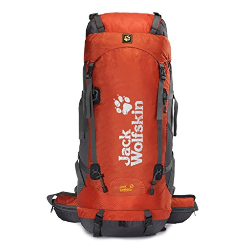 Outdoor-Klettern Tasche mit großer Kapazität wasserdichtem Nylon-Rucksack im Freien Wanderrucksack Orange 60L