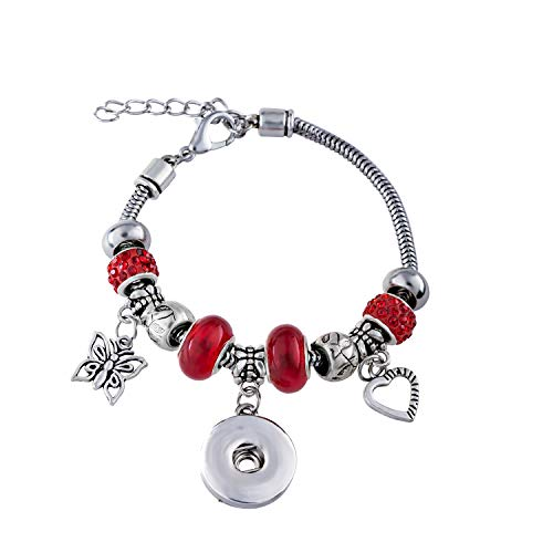(Fendisi Snap Button Bracelet DIY Women Interchangeable Jewelry Silver Plated Snake Chain Girls Beads Charm Bracelets (Red))