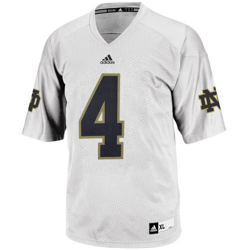 NCAA adidas Notre Dame Fighting Irish #4 Replica Football Jersey - White (Adidas Notre Dame Irish Replica Football)