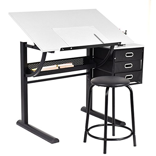 Tangkula Drafting Table Art U0026 Craft Drawing Desk Art Hobby Folding  Adjustable W/ Stool