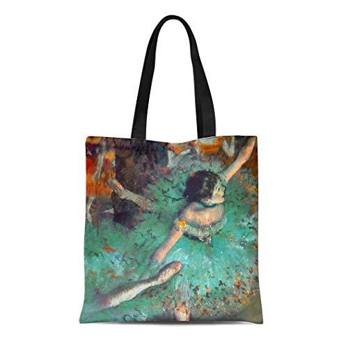 Semtomn Cotton Line Canvas Tote Bag Dancing Edgar Degas Green Dancers Ballet Dance Performer Stage Reusable Handbag Shoulder Grocery Shopping Bags